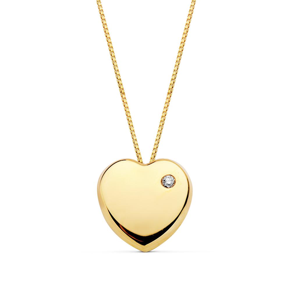 4d4e69781802 18901-3 COLLAR CORAZON 18KTS para señora. Gargantilla oro corazón con  circonita